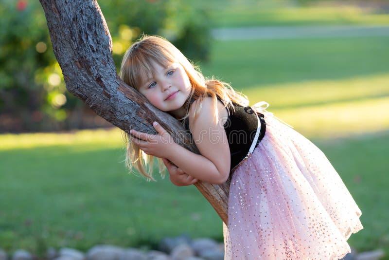 Den lilla Caucasian flickan i festlig klänning på en trädfrunch som är bakbelyst med solen i, parkerar royaltyfri bild