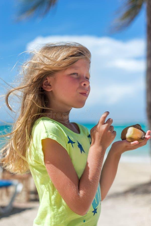 Den lilla Caucasian flickan på den tropiska stranden rymmer muttrar royaltyfri fotografi