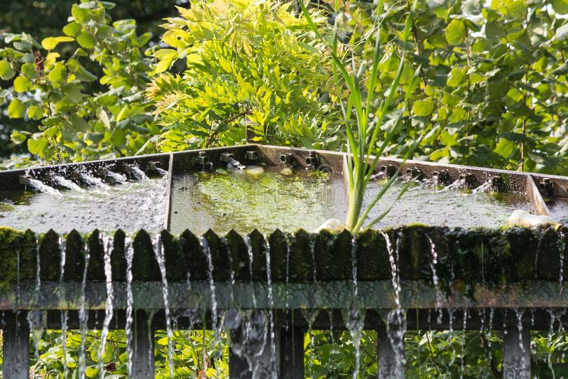 Den lilla dammbyggnadvattenfallet i ett offentligt parkerar royaltyfri bild