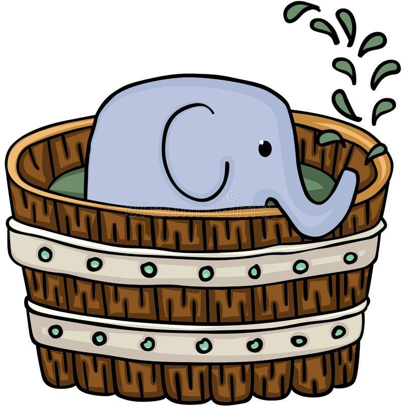 Den lilla elefanten inom trä badar för ett bad stock illustrationer