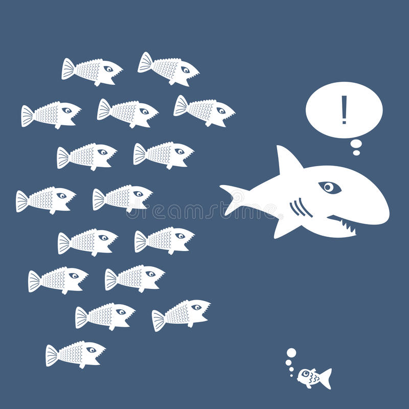 Den lilla fisken äter den stora fisken royaltyfri illustrationer