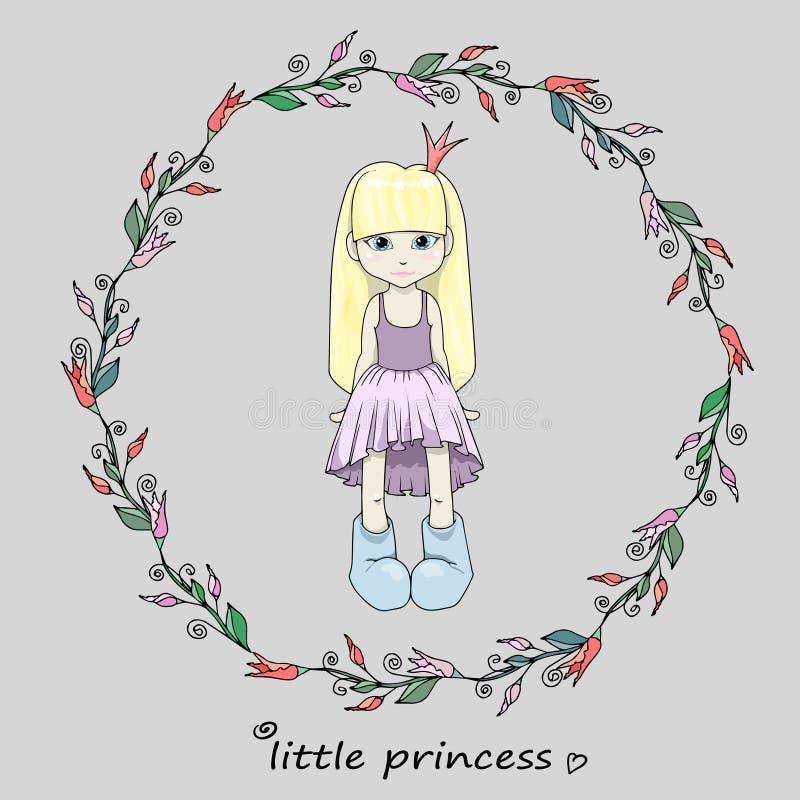 Den lilla flickprinsessan i en ram med blommor Fasthållningsillustration för barnkläder arkivbild