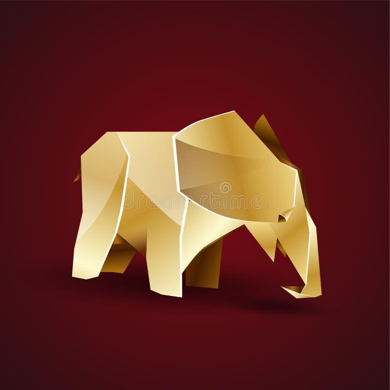 Den lilla guld- origamin behandla som ett barn elefanten royaltyfri illustrationer