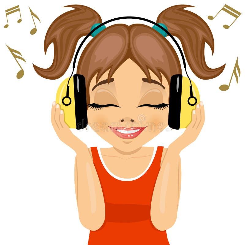 Den lilla gulliga flickan tycker om att lyssna till musik med hörlurar vektor illustrationer