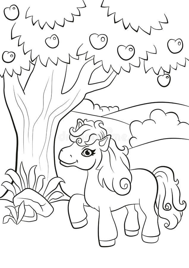 Den lilla gulliga ponnyn står under äppleträdet stock illustrationer