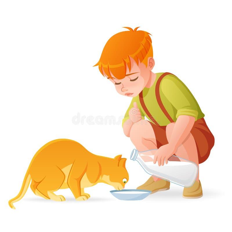 Den lilla gulliga rödhårig manpojken som matar hans katt med, mjölkar den främmande tecknad filmkatten flyr illustrationtakvektor stock illustrationer