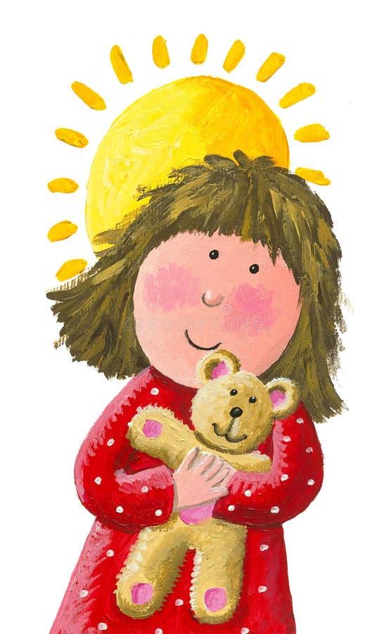 Den lilla härliga gulliga flickan kramar en leksak för nallebjörn på en solig dag vektor illustrationer