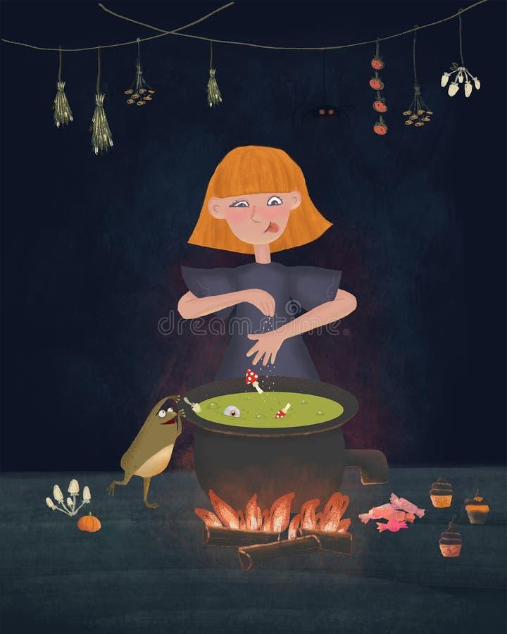 Den lilla häxan lagar mat godisen på en öppen brand i häxakrukan Rolig illustration för Rastered tecknad filmtecken med den gulli stock illustrationer
