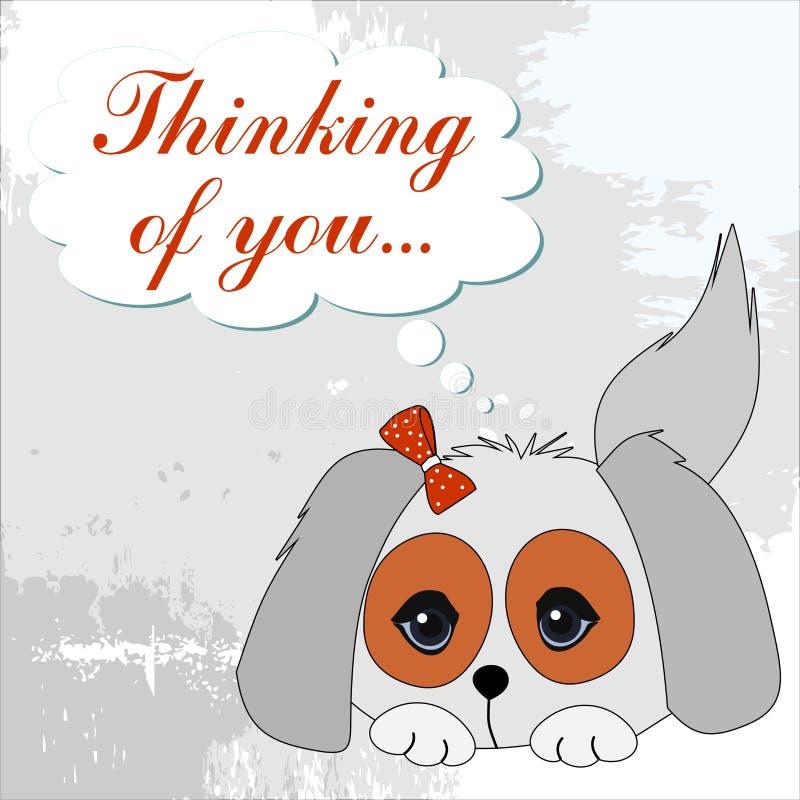 Den lilla hunden på en grungebakgrund med en inskrift tackar dig vektor illustrationer