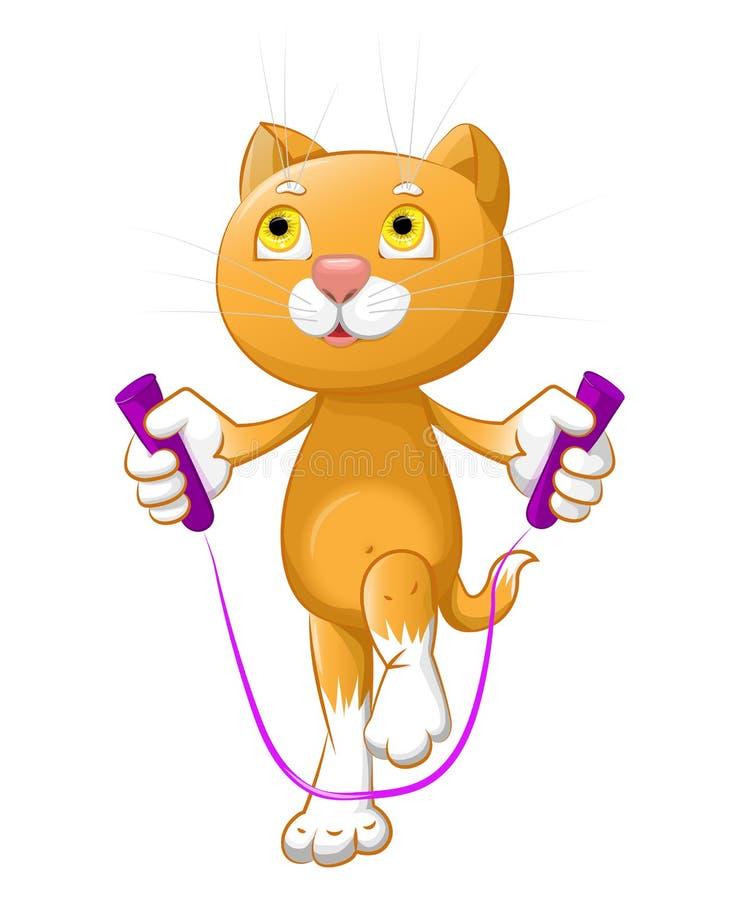 Den lilla katten är det hoppa repet stock illustrationer