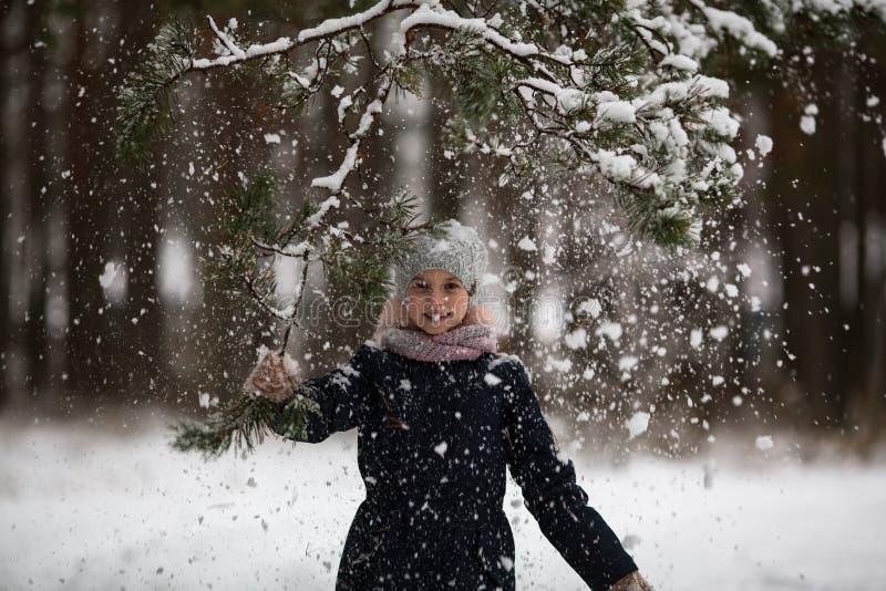 Den lilla lyckliga flickan som har gyckel i vinter, parkerar arkivfoton