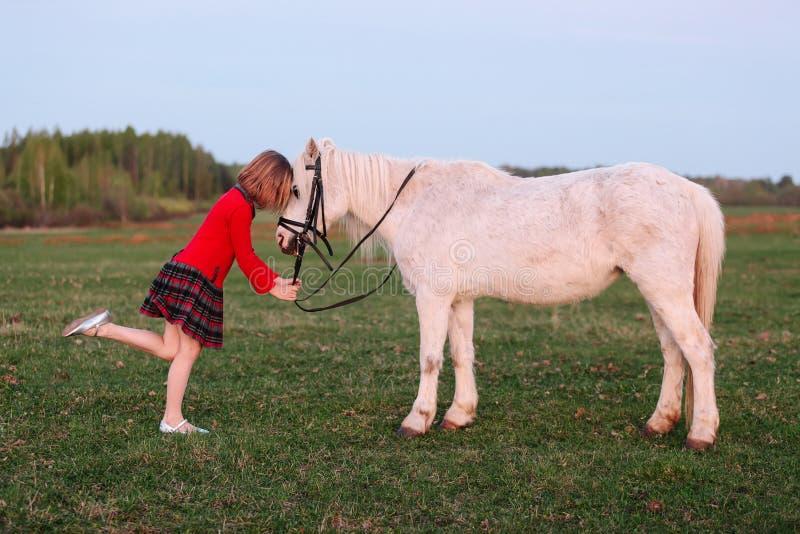Den lilla modellen av en ung flicka satte hennes barn i en liten vit ponny royaltyfri fotografi