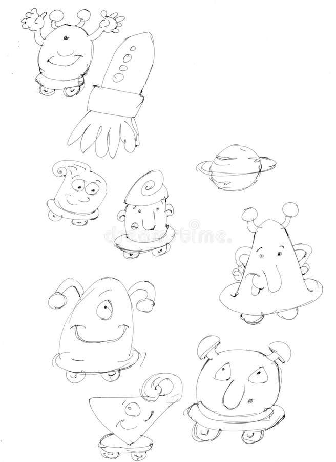 Den lilla monsterroboten, schizzi en scarabocchi för matitebozze e vektor illustrationer