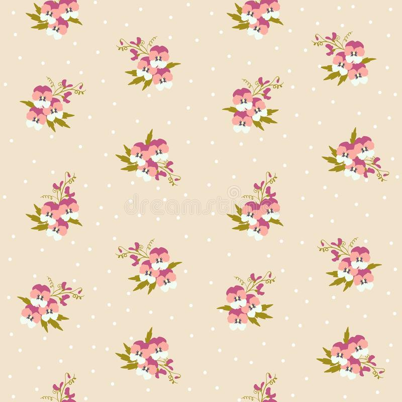 Den lilla mycket lilla rosa penséen blommar buketter spridda på en prickig bakgrund Ditsy blom- sömlös modell för frihet in stock illustrationer