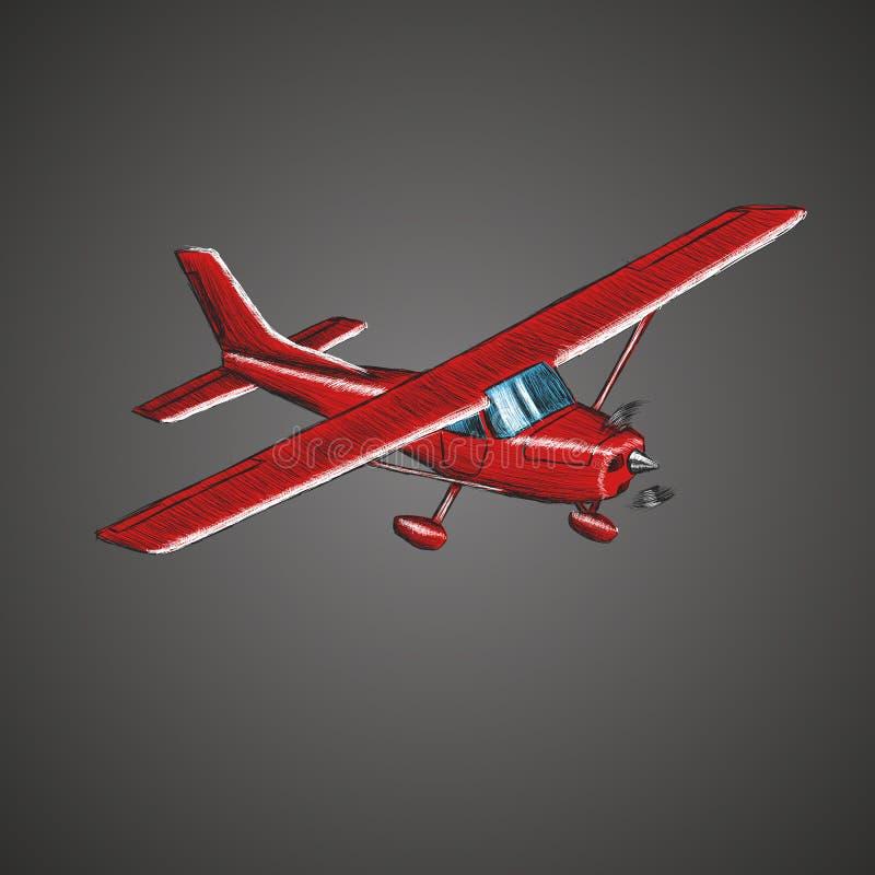 Den lilla plana vektorn skissar Hand dragit framdrivit flygplan för enkel motor Luft turnerar wehicle stock illustrationer