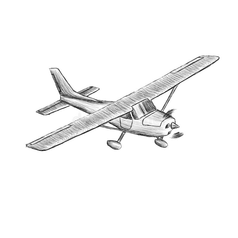Den lilla plana vektorn skissar Hand dragit framdrivit flygplan för enkel motor Luft turnerar wehicle vektor illustrationer