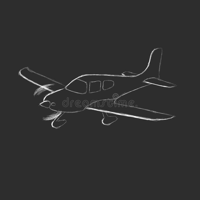 Den lilla plana vektorn skissar Hand dragit framdrivit flygplan för enkel motor Luft turnerar wehicle royaltyfri illustrationer