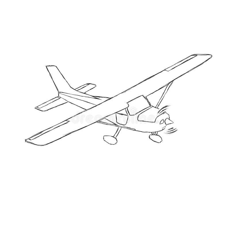 Den lilla plana vektorn skissar Hand dragit framdrivit flygplan för enkel motor Luft turnerar wehiclekonturn stock illustrationer