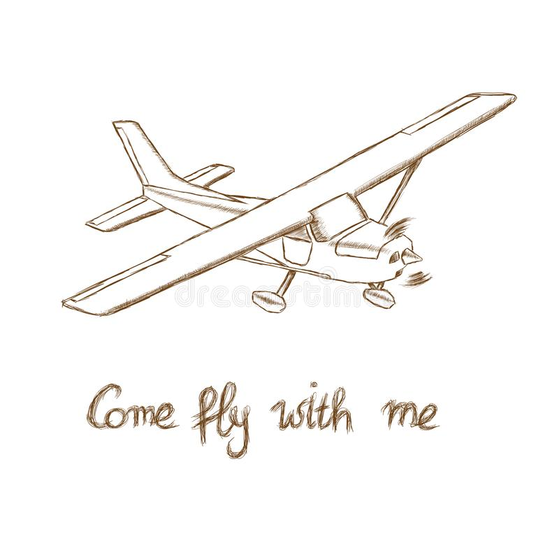 Den lilla plana vektorn skissar Hand dragit framdrivit flygplan för enkel motor Luft turnerar wehiclekonturn royaltyfri illustrationer