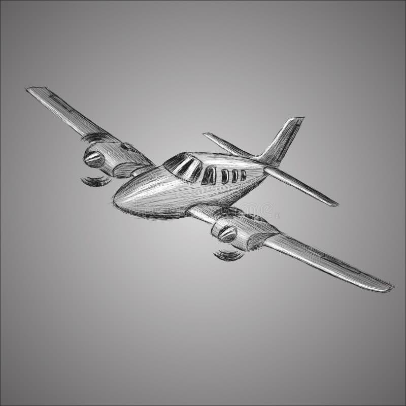 Den lilla plana vektorn skissar Hand dragit tvilling- motor framdrivit flygplan Luft turnerar wehiclekonturn vektor illustrationer