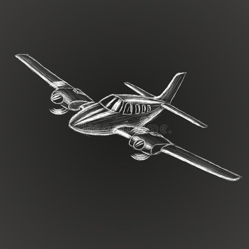 Den lilla plana vektorn skissar Hand dragit tvilling- motor framdrivit flygplan Luft turnerar wehiclekonturn stock illustrationer