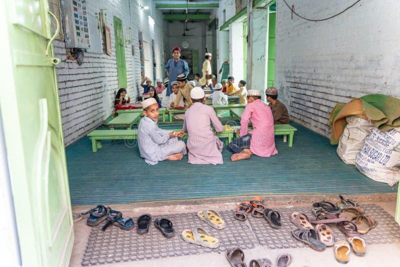 Den lilla privata muslim skolan i Indien arkivfoton