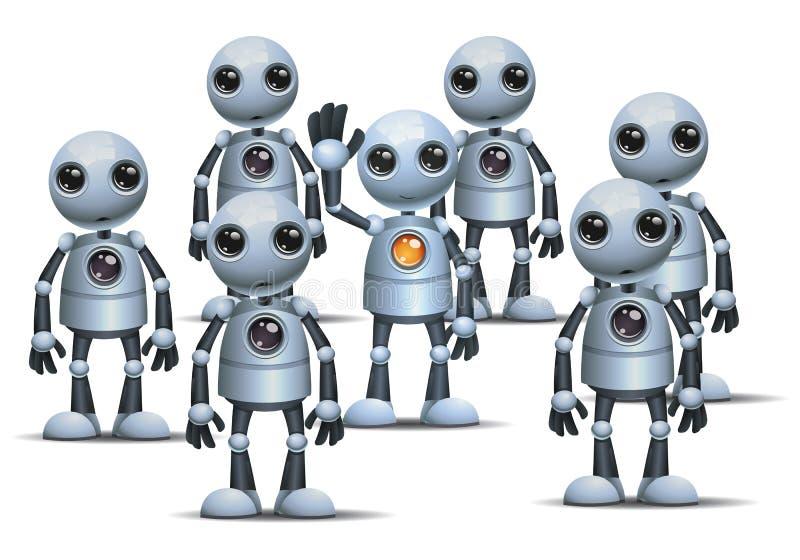 Den lilla roboten är olik på folkmassan vektor illustrationer