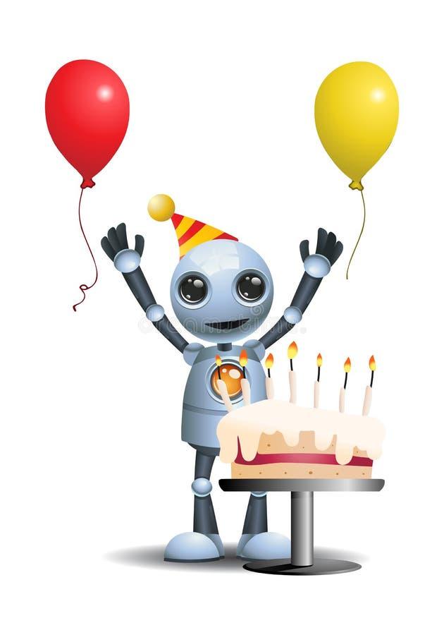 Den lilla roboten fick en födelsedagkaka vektor illustrationer