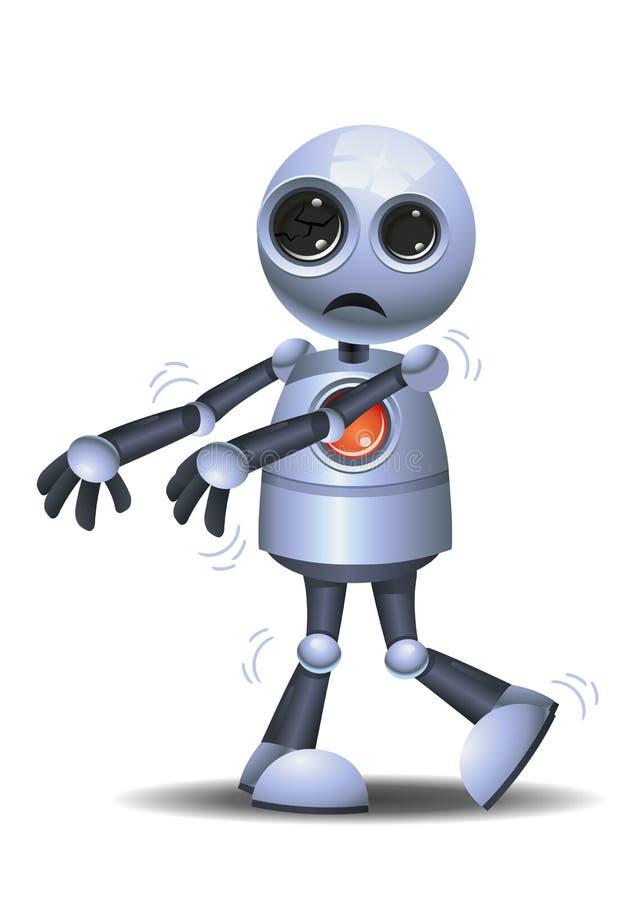 Den lilla roboten fick en virus blev en levande död royaltyfri illustrationer