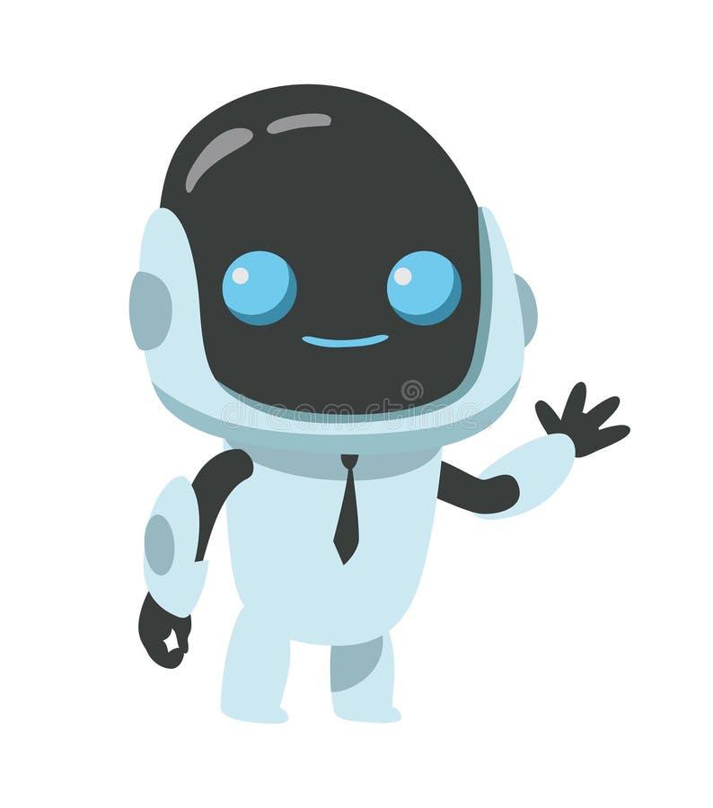 Den lilla roboten ler för objektbana för bakgrund clipping isolerad white stock illustrationer