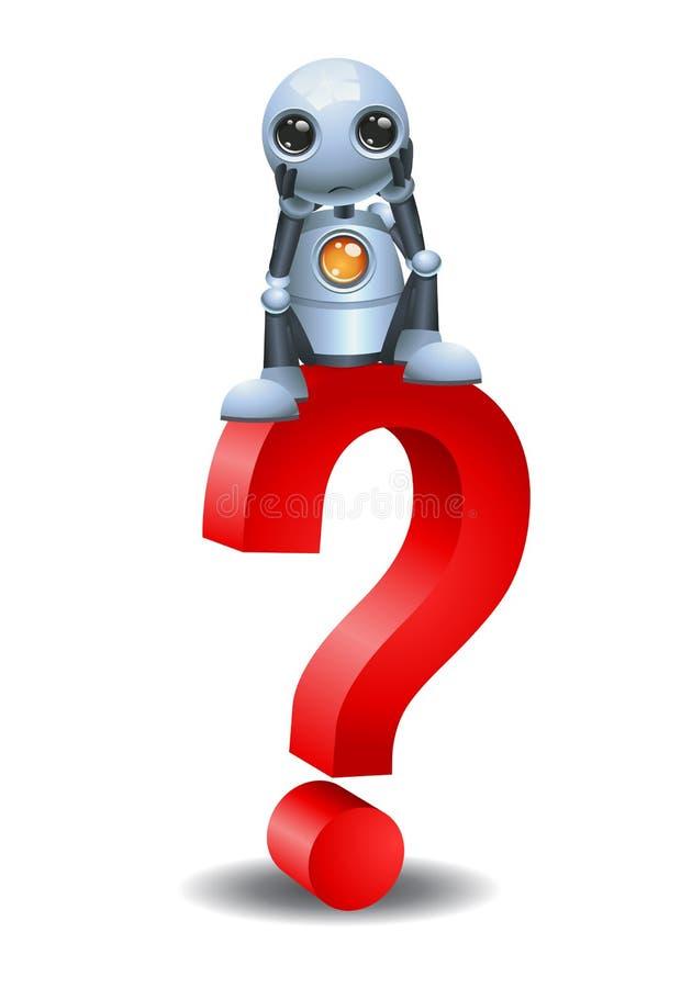 Den lilla roboten och sitter överst ett frågesymbol royaltyfri illustrationer