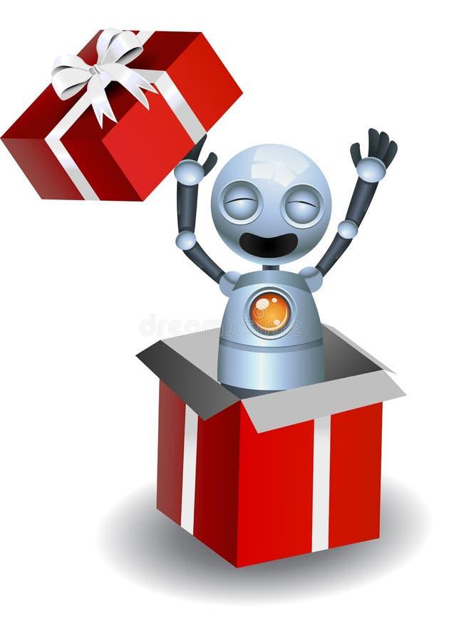 den lilla roboten poppar upp fr?n g?vaasken royaltyfri illustrationer
