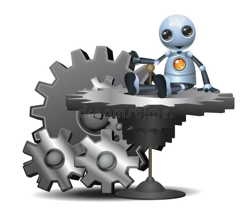 Den lilla roboten sitter på det stora kugghjulet vektor illustrationer