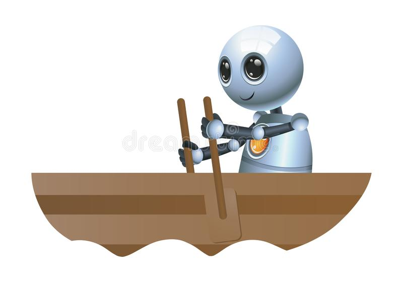 den lilla roboten sitter rodd på fartyget stock illustrationer