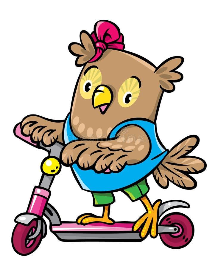 Den lilla roliga ugglan rider en sparkcykel royaltyfri illustrationer