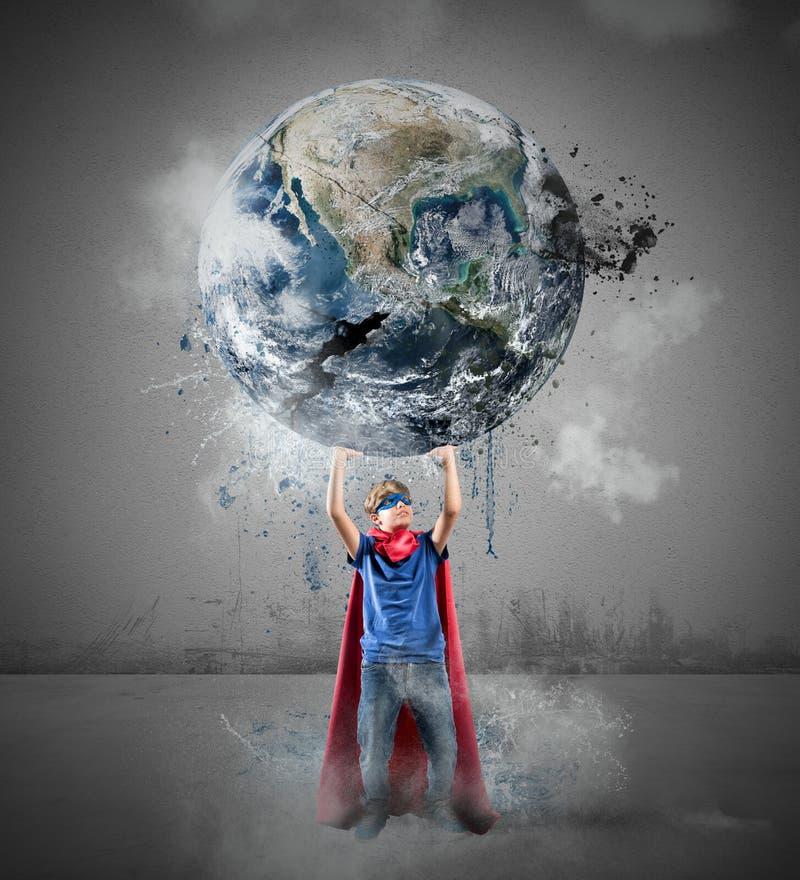 Den lilla superheroen sparar världen arkivbild