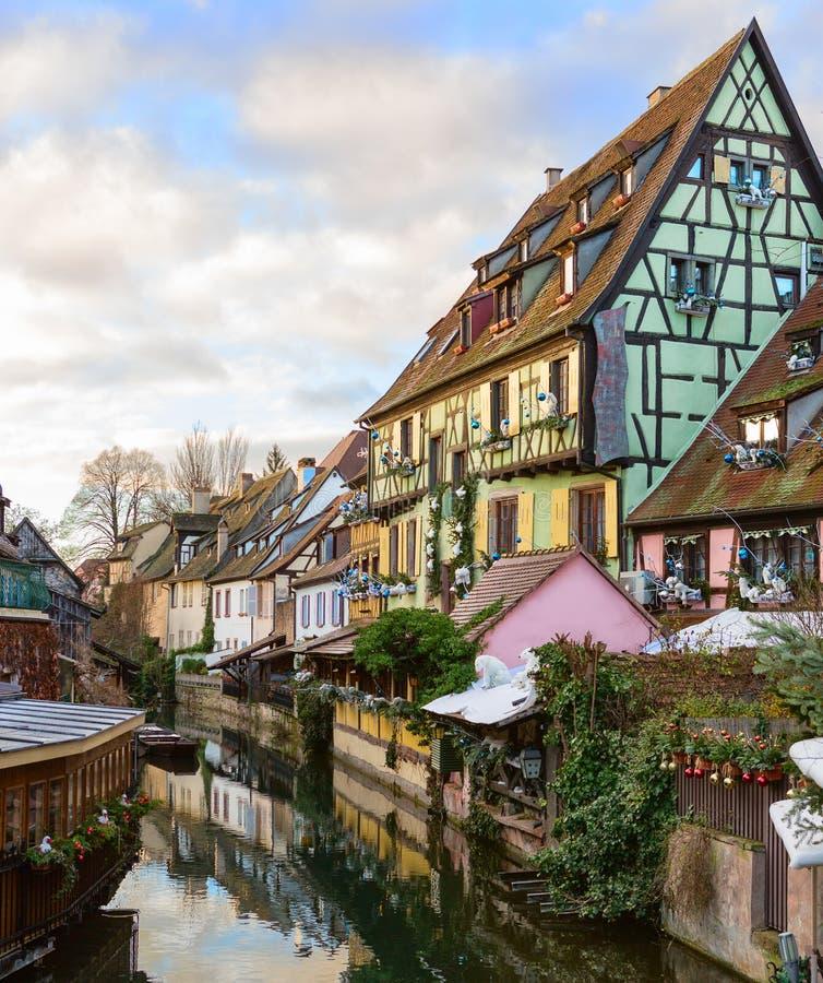 Den lilla Venedig av Colmar - är ett pittoreskt gammalt turist- område nära den historiska mitten av Colmar, Haut-Rhin, Alsace, F royaltyfria bilder