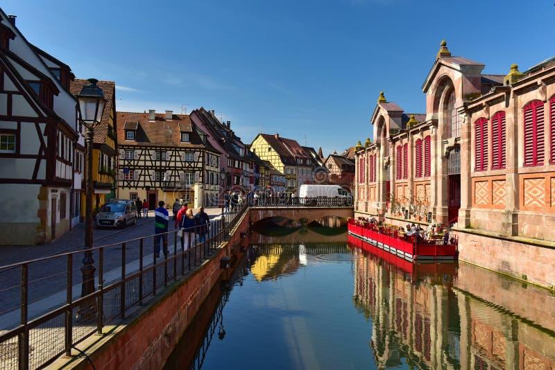 Den lilla Venedig av Colmar Stad av Colmar, Alsace region, Frankrike royaltyfri fotografi