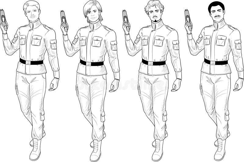 Den Lineart mannen i militär likformig rymmer taser vektor illustrationer