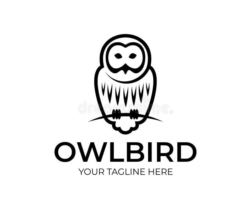 Den linjära fågelugglan sitter på filialen, logodesign Djur, djurliv, natur och rov- fågel för natt, vektor vektor illustrationer
