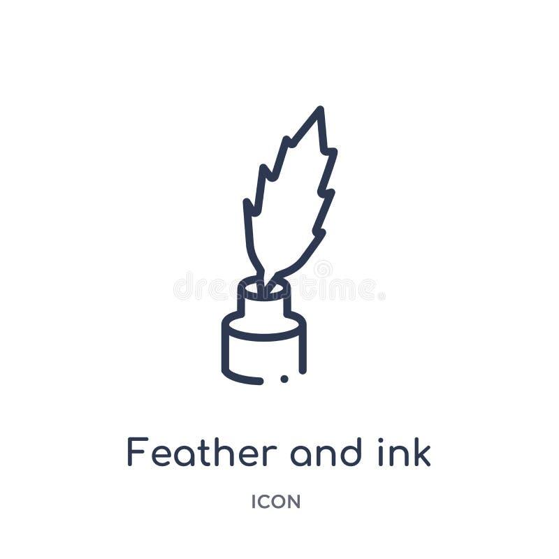 Den linjära fjäder- och färgpulversymbolen från redigerar översiktssamlingen Tunn linje fjäder och färgpulvervektor som isoleras  stock illustrationer