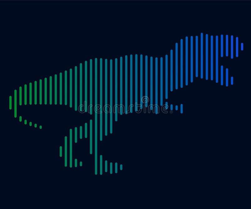 Den linjära illustrationen av en dinosaurie logo royaltyfri illustrationer