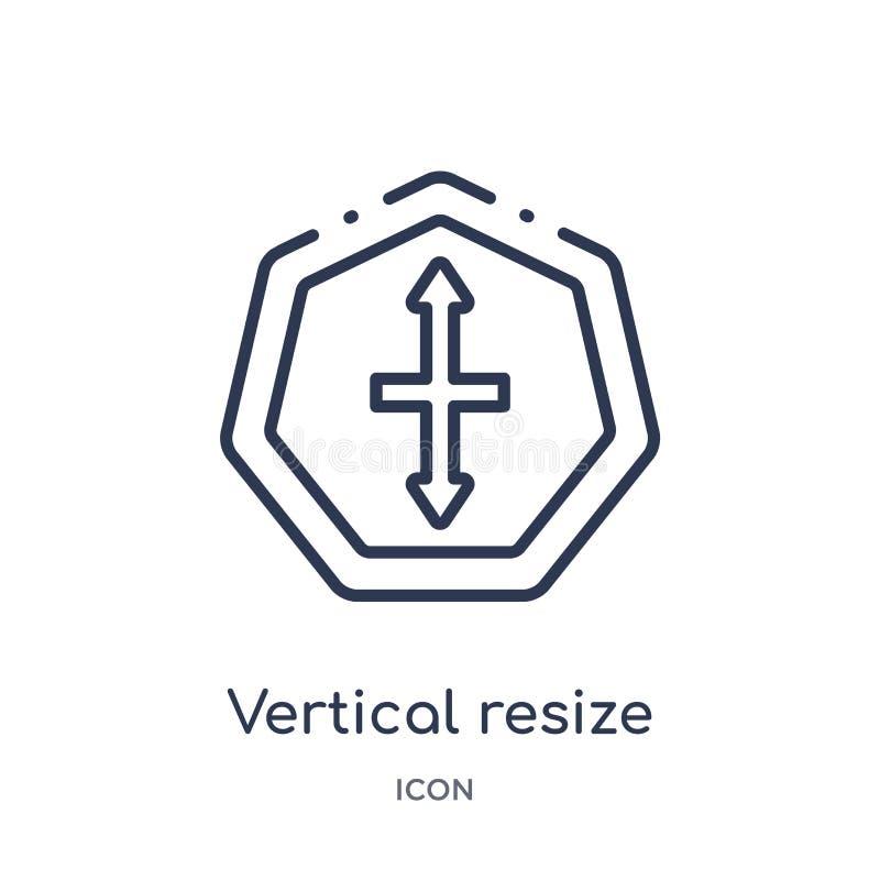 Den linjära lodlinjen resize symbolen från pilöversiktssamling Den tunna linjen lodlinje resize vektorn som isoleras på vit bakgr royaltyfri illustrationer