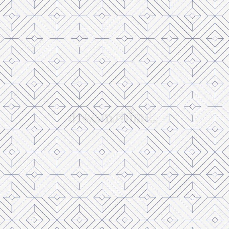 Den linjära modellen, linjär diamantform dekorerar med diamantfyrkantform stock illustrationer