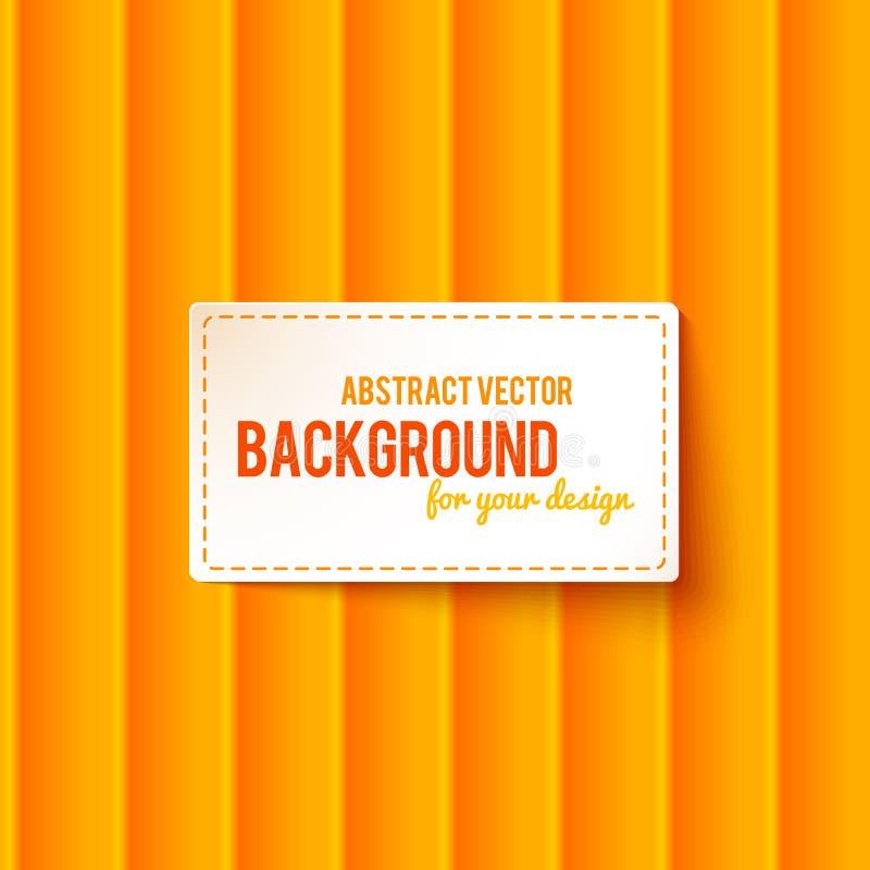 Den ljusa apelsinen gör randig bakgrund med etiketten stock illustrationer