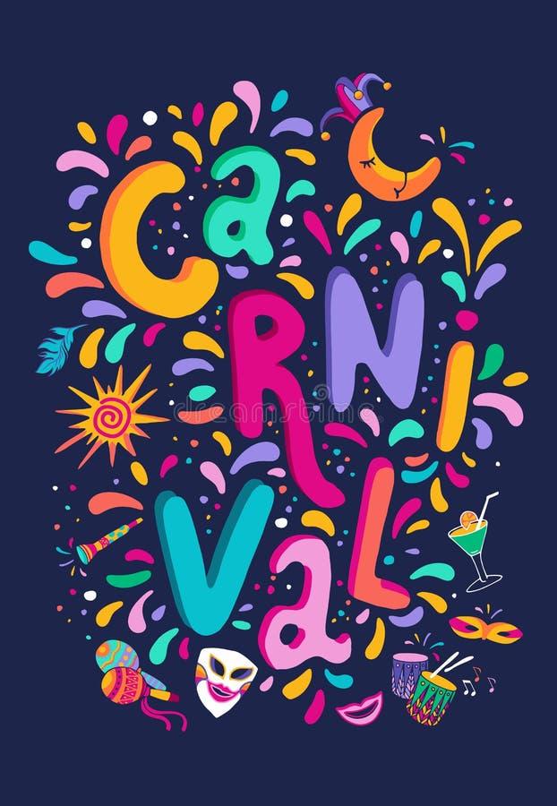 Den ljusa färgrika vektorn ställde in för karnevalfestival dekorerar Inkludera handskriven märka text, konfetti, maskeringar, fyr vektor illustrationer
