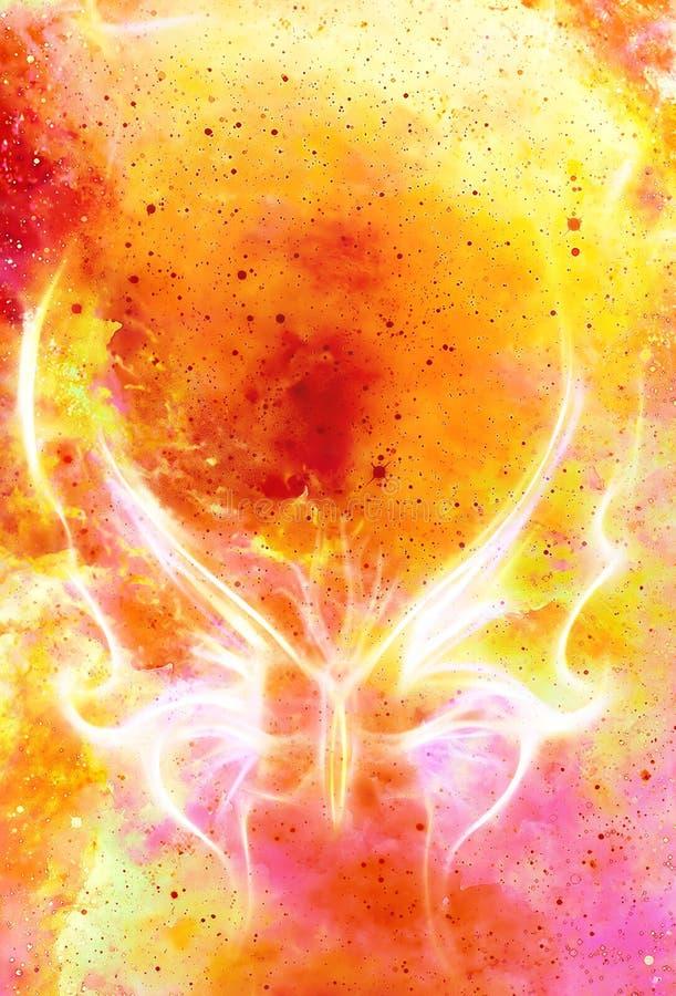 Den ljusa fjärilen i kosmiskt utrymme och brand flammar Kosmisk abstrakt bakgrund för färg vektor illustrationer