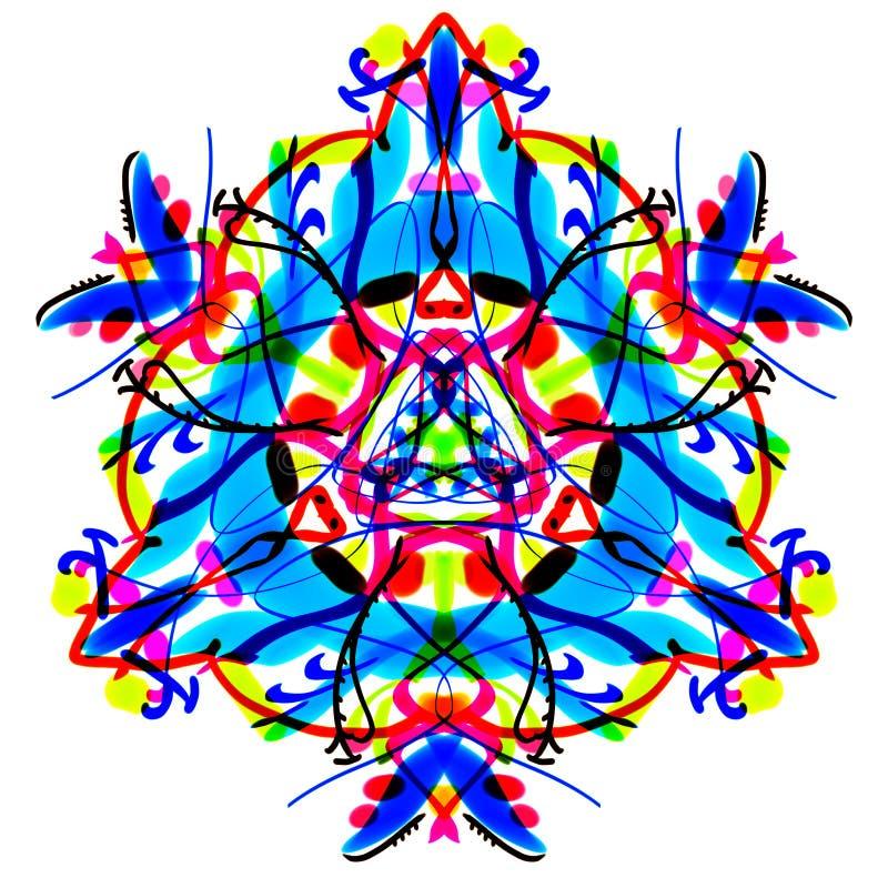 Den ljusa flerfärgade triangulära modellen. Målad mandala. royaltyfri illustrationer