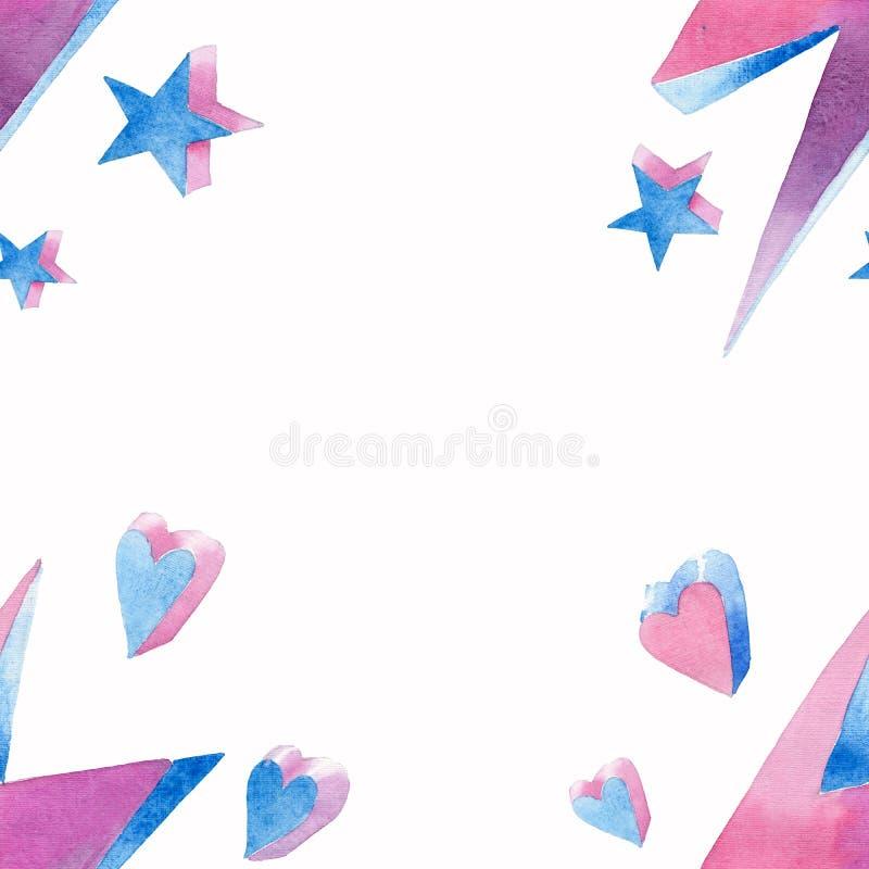 Den ljusa härliga älskvärda gulliga felika magiska färgrika ramen av blixtar med hjärtor och stjärnavattenfärgen räcker illustrat royaltyfri illustrationer