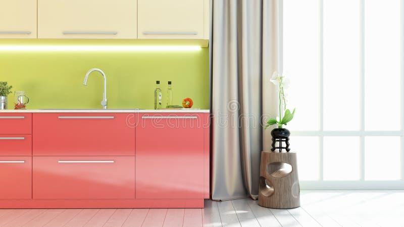 Den ljusa kökinre 3D framför stock illustrationer